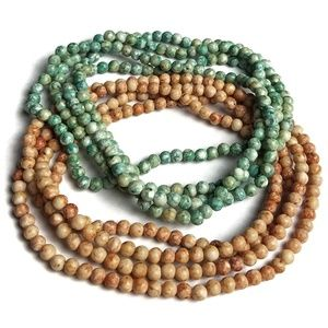 Polished River Rock Green Tan Stone Necklaces